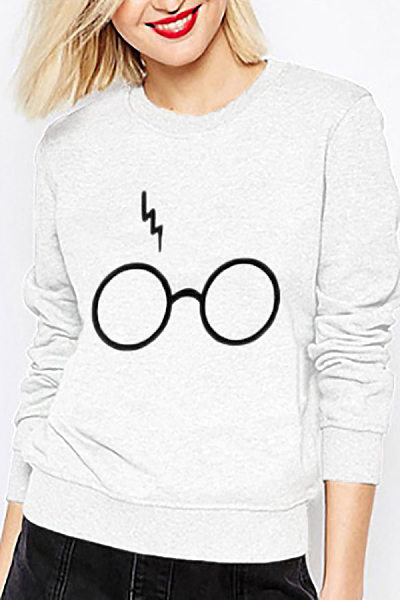 Casual Round Neck Glasses Printed Long-Sleeved Sweatershirt
