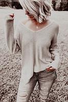 Fashion Brief Pure Colour Long Sleeve Loose Sweater