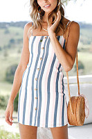 Spaghetti Strap  Decorative Buttons  Striped  Sleeveless Bodycon Dresses