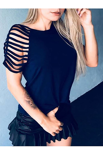 Casual Hollow Out Short Sleeve Pure Colour T-Shirt