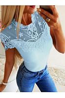 Lace Patchwork Short Sleeve Elegant T-Shirts