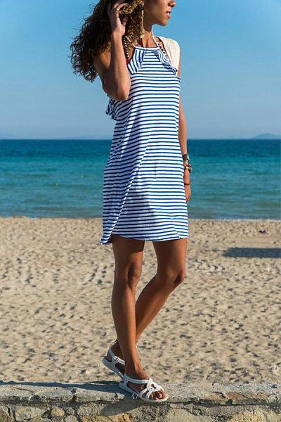 Fashion Halter Ruffle Stripe Dress