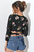 Surplice  Bowknot  Exposed Navel  Floral Printed Shirts