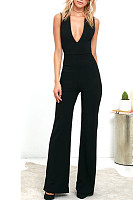 Spaghetti Strap  Backless  Back Hole  Plain  Sleeveless Jumpsuits