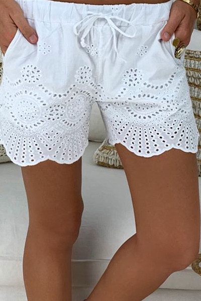 Casual Elastic Waist Drawstring Hollow Pattern Short Pant