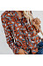 Lace Up Printed Long Sleeve Fashion Blouses