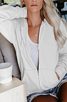 Casual Solid Color Horn Long Sleeve Drawstring Pocket Sweatshirt