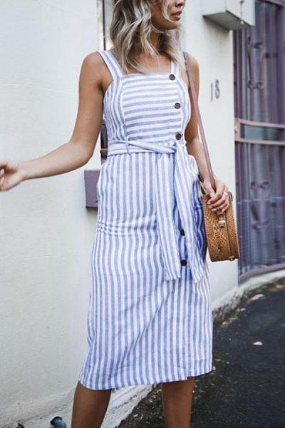 Spaghetti Strap  Striped  Sleeveless Maxi Dresses