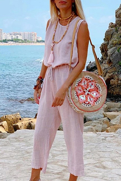 Casual Sleeveless Pure Color Round Neck Elastic Waist Jumpsuit