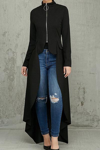 Band Collar  Asymmetric Hem Zipper  Plain Jackets