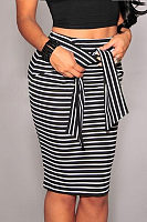 Zipper  Belt Loops  Striped Skirts
