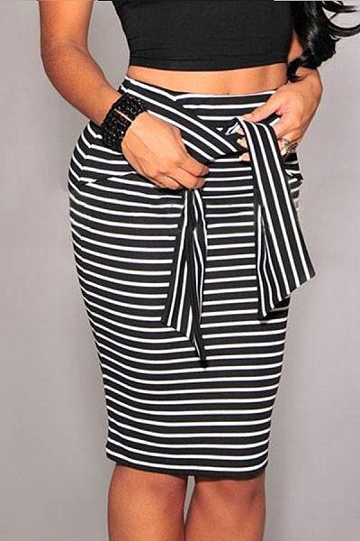 Zipper  Belt Loops  Striped Skirts