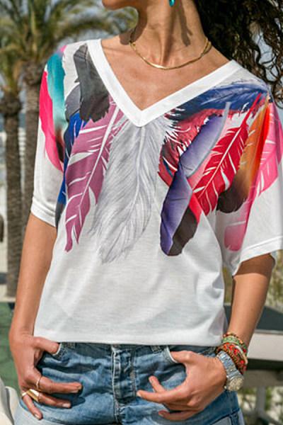 V Neck Feather Short Sleeve T-Shirts