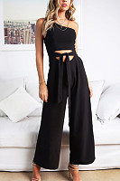 One Shoulder  Backless  Belt  Plain  Sleeveless Jumpsuits