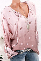 Casual V-Neck Five-Pointed Star Printed Long-Sleeved Loose T-Shirts