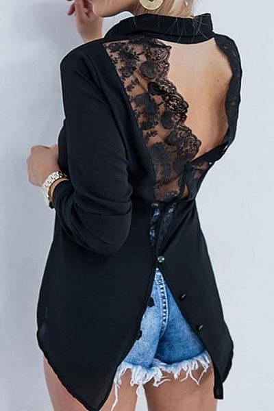 Open Back Lace Stitching Lapels   Long Sleeved Irregular Chiffon Blouses