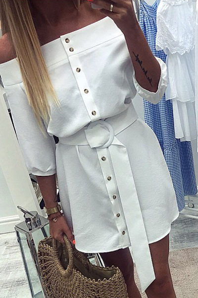 Off Shoulder  Single Breasted  Belt  Half Sleeve Casual Dresses