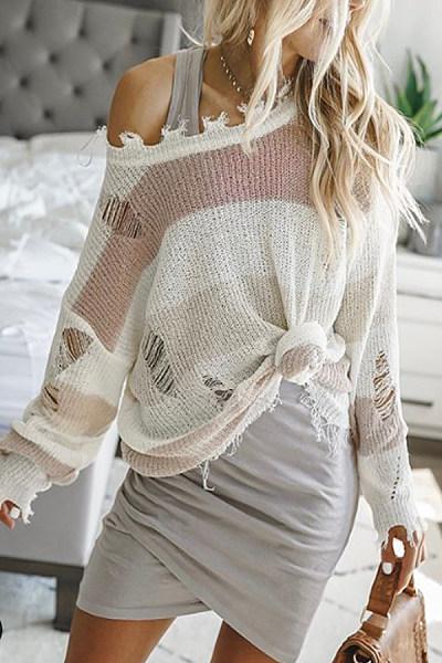 Irregular Collar Casual Sweater