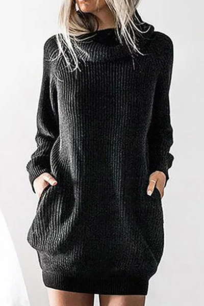 High Neck  Loose Fitting  Plain Sweaters