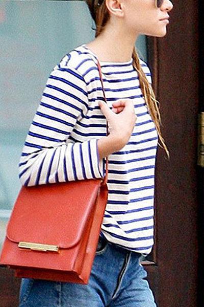 Round Neck Lips  Striped T-Shirts