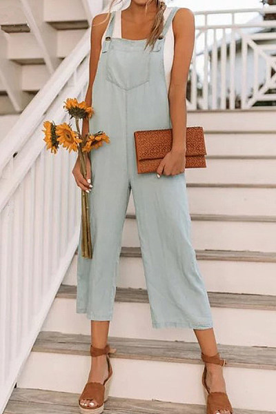 Overall  Plain  Sleeveless Jumpsuits