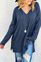 V Neck  Loose Fitting Slit  Plain Sweaters