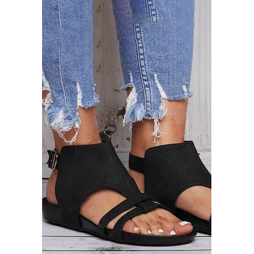 Plain  Flat  Peep Toe  Casual Outdoor Flat Sandals