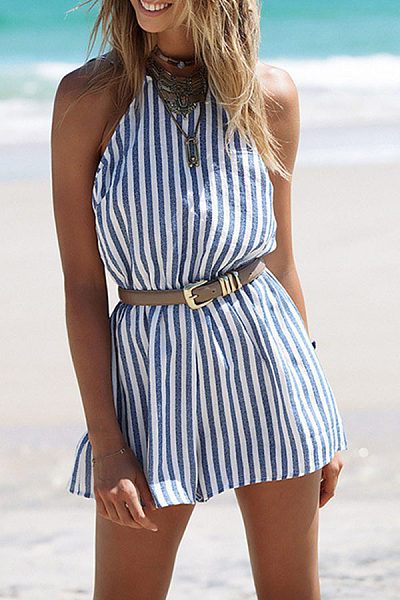 Halter  Backless  Vertical Striped  Sleeveless Playsuits