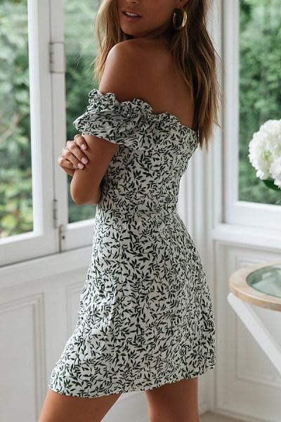 Off Shoulder Printed Short Sleeve Skater Dresses