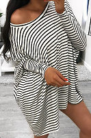 One Shoulder  Striped  Batwing Sleeve  Long Sleeve Casual Dresses