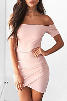 Open Shoulder Curved Hem Plain Bodycon Dress