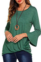 Round Neck  Asymmetric Hem  Plain  Bell Sleeve T-Shirts