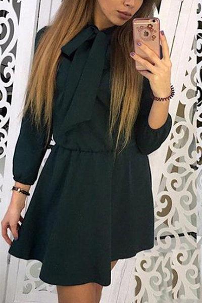 Bow Collar  Elastic Waist  Plain  Long Sleeve Skater Dresses