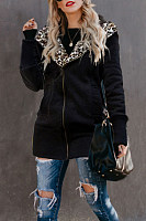 Fashion Leopard Print With Hat Thickening Zipper Slim Coat