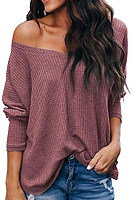 V Neck Plain Loose Fitting Knit T-Shirts