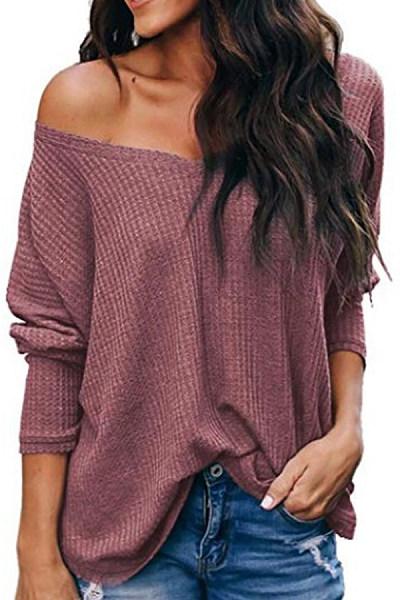 V Neck Plain Loose Fitting Knit T-Shirts
