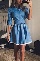 Button Down Collar  Decorative Lace  Belt Loops  Plain  Half Sleeve Skater Dresses