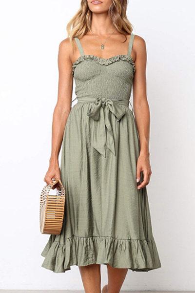 Spaghetti Strap  Belt  Sleeveless Maxi Dresses
