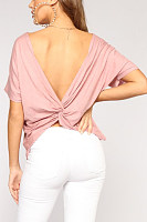 Crew Neck  Backless  Plain  Blouses