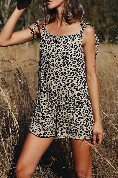 Casual Square-Cut Collar Sleeveless Leopard Print Jumpsuit
