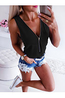 Sexy V-Neck Zip Sleeveless T-Shirt
