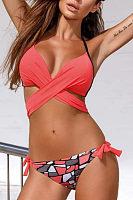 Spaghetti Strap  Bowknot  Printed Bikini
