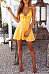 Spaghetti Strap  Bowknot Single Breasted  Sleeveless Skater Dresses
