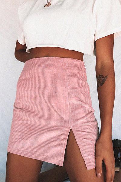 Cute Pure Colour Polyester Fiber A-Line Skirt