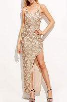 Spaghetti Strap  Asymmetric Hem Backless  Glitter  Sleeveless Party Dresses