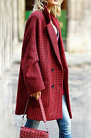 Fold Over Collar  Decorative Buttons  Plaid Outerwear