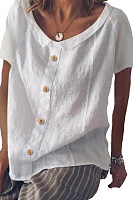 Small Lapel  Loose Fitting Single Breasted  Plain Blouses