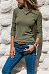 Asymmetrical Collar Button Long Sleeve Plain Knitting T-Shirts