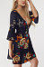 Deep V Neck  Floral Printed  Bell Sleeve  Half Sleeve Casual Dresses