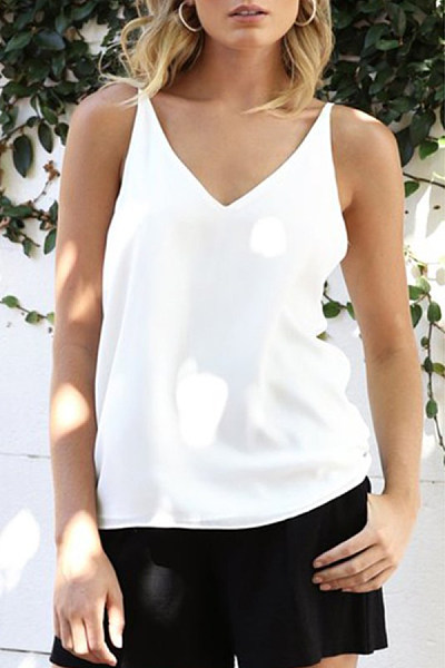 Spaghetti Strap  Backless  Plain Camis